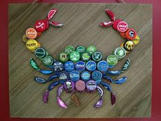 Check out this item in my Etsy shop https://www.etsy.com/listing/606464760/rainbow-beer-bottle-cap-crab