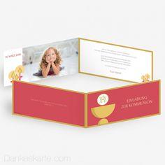 Kommunionskarte Andächtig 21 x 10 cm Invitation Design, Invitations, Communion, 21st, Frame, Cards, First Communion, Thanks Card, Frames