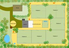 W/track system // efficient horse farm layout Paddock Trail, Horse Paddock, Horse Arena, Horse Stables, Horse Farm Layout, Barn Layout, Horse Shelter, Horse Barn Plans, Farm Plans