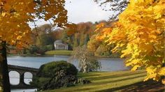 This beautiful view across the garden at Stourhead is transformed in autumn. Near Bath