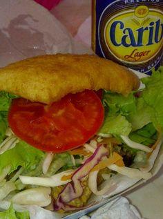 bake and shark + a carib beer!