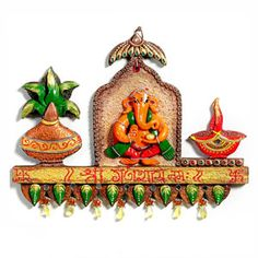 Enrich your decor with this distinctive hand painted wood and clay art work of Ganesha, kalash and adiya bring good luck to your home. Costs Rs 1075/- http://www.tajonline.com/gifts-to-india/gifts-AR5257.html?aff=pinterest2013/