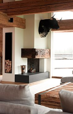 wooden beams and minimal fireplace