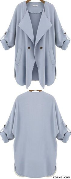 Pockets Blue Trench Coat