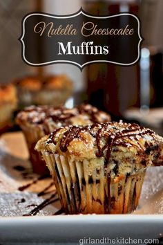 These Nutella Cheesecake muffins are your dessert for breakfast!  Tender, moist muffing filled with gooey Nutella and creamy a cheesecake filling.