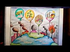 Environment day poster/ Air pollution poster or Air pollution drawing Save Environment Poster Drawing, Save Water Poster Drawing, Water Drawing, Planet Drawing, Earth Drawings, Cute Easy Drawings, Art Drawings For Kids, Poster On Pollution, Deforestation Poster