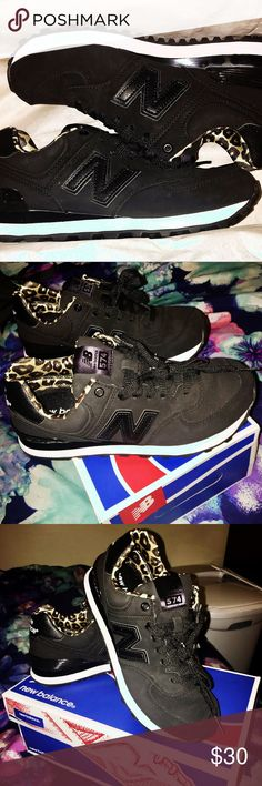 Women's New Balance 574 Shoes Size 6.5  New Balance 574 Shoes Black with Cheetah Print Accent Never worn 10/10 condition  New in Box  Reasonable Offers Accepted :) New Balance Shoes Sneakers