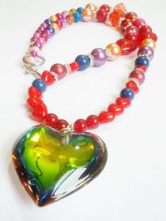 Heart Beaded Necklace Heart Charm Jewelry by AngryKittyOnline