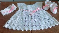 Gorgeous Crochet Dress Set in Yarn with Little Shoes Step by Step -   Crochet Patterns