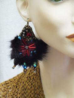 RESERVED RUSSIAN WINTER Earrings.Unique artsy ready par JARMOLOWSKA