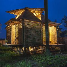 Prototype bamboo house in Vietnam by H&P Architects designed to withstand floods up to three metres above ground.