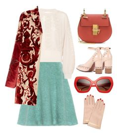 """""""Teal + Red"""" by cherieaustin ❤ liked on Polyvore featuring Miu Miu, Chloé, Undercover and Rubeus"""