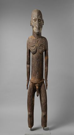 Ancestor Figure Date: 19th century or earlier Geography: Papua New Guinea, East Sepik Province, Yamok village, Middle Sepik River region Culture: Sawos people Medium: Wood, paint, fiber Dimensions: H. 72 x W. 12 3/4 x D. 9 7/8 in. (182.9 x 32.4 x 25.1cm) Classification: Wood-Sculpture Credit Line: The Michael C. Rockefeller Memorial Collection, Bequest of Nelson A. Rockefeller, 1979 Accession Number: 1979.206.1561 On view in Gallery 354