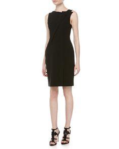 Sleeveless Asymmetric-Fold Sheath Dress, Black by Halston Heritage at Neiman Marcus.