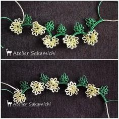 Leaves and flowers Shuttle Tatting Patterns, Needle Tatting Patterns, Tatting Bracelet, Tatting Lace, Tatting Tutorial, Macrame Tutorial, Lacemaking, Thread Art, Happy Flowers