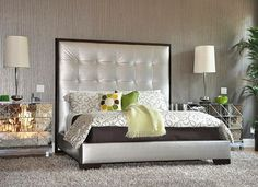 metalic+bedroom   70s design - silver upholstered bed with mirrored nightstands and a ...