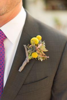 billy button boutonniere for grey groomsmen