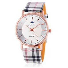 Jijia Golden Case Women Quartz Watch with Plaid Leather Strap ONLY $3,68