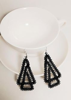 Items similar to Sexy Statement Earrings/Geometric Triangle Earrings/Statement Jewelry/Modern Abstract Earrings/Jace Geometric Jewelry/Modern Earrings/Lace on Etsy Lace Earrings, Lace Jewelry, Triangle Earrings, Hairpin Lace Crochet, Crochet Motif, Crochet Edgings, Crochet Shawl, Bruges Lace, Bobbin Lacemaking