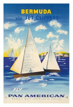 Bermuda via Jet Clippers vintage travel poster