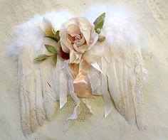 Angel wings with wonderful rose