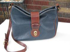 Vintage Coach Dark Blue Leather Shoulder Crossbody Hobo Purse Handbag