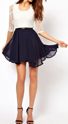 Elegant | U Neck. Lace Splicing, Ruffled Half Sleeves Dress.