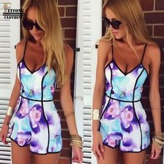 Sexy Women V-Neck Floral Print Retro Style Playsuit Casual Jumpsuit Rompers Trousers