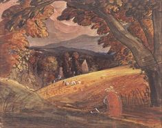"""Samuel Palmer """"Harvesters by Firelight"""" c.1830. Black ink with watercolour and gouache. Washington, DC, National Gallery of Art, Paul Mellon Collection"""