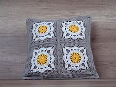 Check out this item in my Etsy shop https://www.etsy.com/listing/271584019/crochet-granny-square-pillow-yellow-gray