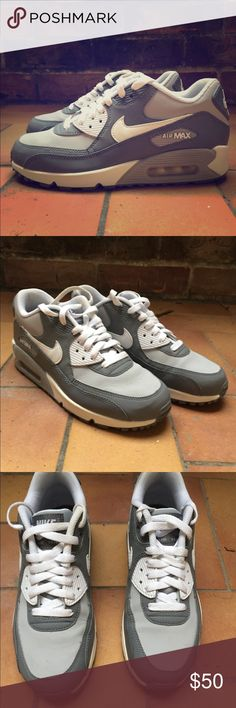 Nike Air Max 90 Grey and Pure Platinum White Nike Air Max 90 sneakers Only  worn times Love these shoes cf3624f3a