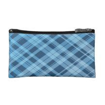 Blue Plaid Background For A Small Cosmetic Bag