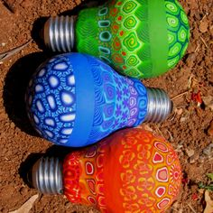 Intricately painted light bulbs