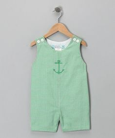 Take a look at this Katie & Co. Lime Gingham Anchor Shortalls - Infant & Toddler by Anchors Away: Apparel & Accessories on today! Young Ones, Fashion Kids, Little Boys, Boy Outfits, Gingham, Baby Gifts, Infant Toddler, Rompers, Clothes