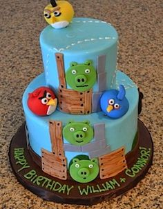 Kid's Angry Birds Cake - for Shea Angry Birds Birthday Cake, 2 Birthday Cake, Cupcakes, Cake Cookies, Cupcake Cakes, Gâteau Angry Birds, Torta Angel, Chocolates, Bird Cakes