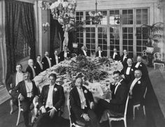 A 1910 banquet honoring Mr. Henry Clews, newly elected as president of the American Civic Alliance, with the Board of Governors. Tesla is second from the right. February 1910 (22)