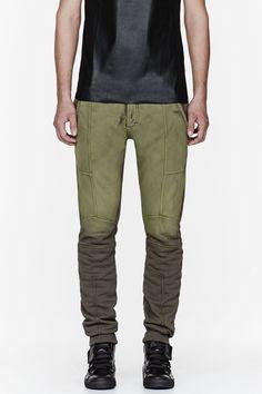 PIERRE BALMAIN Olive two-tone lounge pants