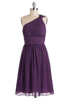 Moonlight Marvel Dress in Plum - Purple, Solid, Ruching, Formal, Prom, Wedding, Cocktail, Bridesmaid, A-line, One Shoulder, Variation, Long,...