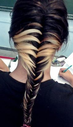 Two tone dyed fishtail ombre hairstyle