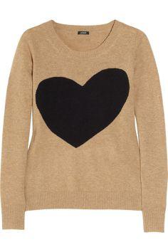 J.Crew|Heart-intarsia wool-blend sweater|NET-A-PORTER.COM