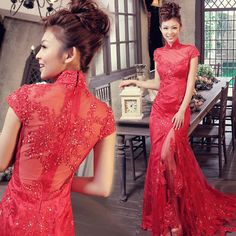 The door of the bride 2012 latest red Chinese cheongsam lace wedding trailing wedding dress toast se Red Lace Wedding Dress, Lace A Line Dress, Colored Wedding Dresses, Formal Dresses For Weddings, Wedding Dresses For Sale, Dress Formal, Cheongsam Wedding, Cheongsam Dress, Ceremony Dresses