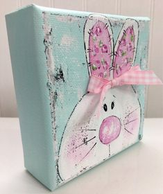 Your place to buy and sell all things handmade Rabbit Painting bunny painting Easter painting spring Spring Projects, Easter Projects, Spring Crafts, Holiday Crafts, Easter Ideas, Halloween Crafts, Easter Art, Hoppy Easter, Easter Crafts