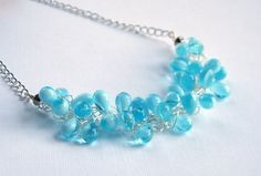 Blue Teardrop Necklace Baby Blue Beaded by BuddingCreations1