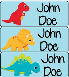 30 personalized waterproof labels name stickers dinosaurs (9) - laser printed. $5.00, via Etsy.