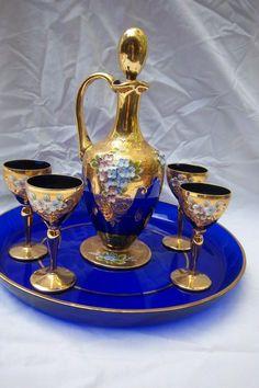 Vintage Murano Cobalt Glass Cordial Set w/ Decanter