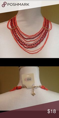 """BCBG MaxAzria Necklace Orange/Pink 10 strand bead necklace with gold tone brackets. Lobster claw closure with the BCBG emblem on connecting chain. Measures 16""""-19"""" BCBGMaxAzria Jewelry Necklaces"""