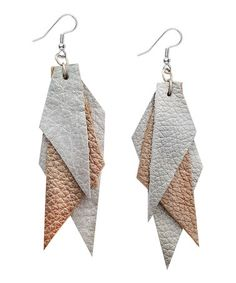 Take a look at this Silver & Gold Mosaic Leather Drop Earrings by Zeyla on #zulily today! $22 !!