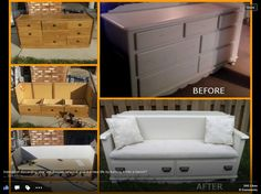 The best DIY projects & DIY ideas and tutorials: sewing, paper craft, DIY. DIY Furniture Plans & Tutorials : 100 Ways to Repurpose and Reuse Broken Household Items Make A Beautiful Bench From That Broken Dresser This is a great Refurbished Furniture, Repurposed Furniture, Furniture Makeover, Ikea Makeover, Chair Makeover, Furniture Projects, Home Projects, Diy Furniture, Street Furniture