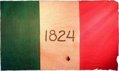 Alamo flag.  The 1824 refers to the date of the Mexican constitution which the Texians were calling the Mexican government to follow in honoring their rights as Mexican citizens.  Santa Anna was there to put down an uprising of his own people.