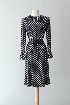 729a01a8fe2 Polka Dots •~• vintage Yves Saint Laurent black  amp  white blouse and skirt